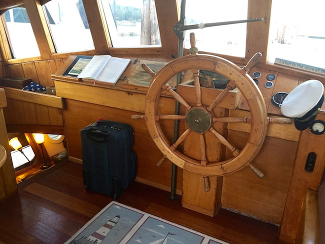 Captain's wheel. Photo by Claudia Carbone