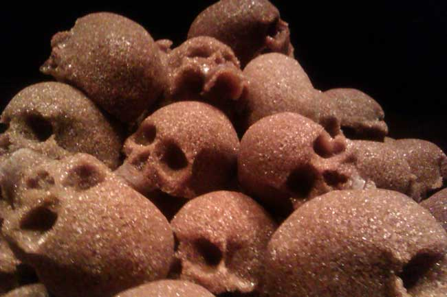 Exhibitions included work commemorating Pacific Islanders who were enslaved on sugar plantations, like a pile of skulls formed out of raw sugar.