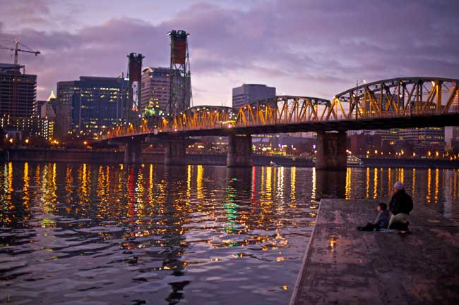 Sunset on the Willamette River in Portland, Oregon, one of the top destinations in the American Northwest. Photo by Travel Portland.com