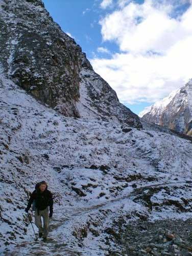 The author walking along Pindari Glacier in India. Photo by Dan Gowanlock