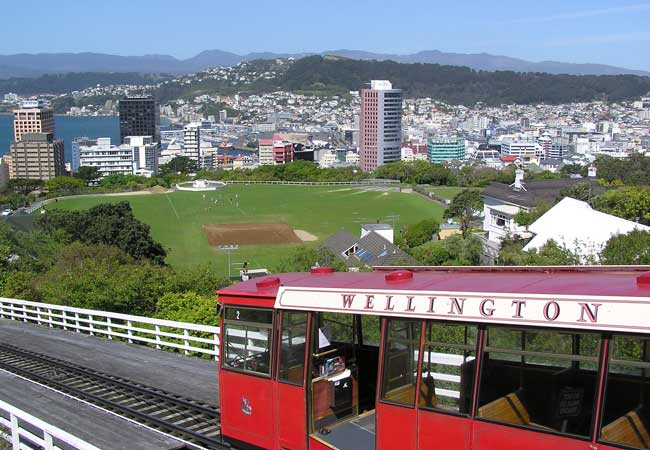 The iconic cable cars in Wellington, New Zealand.