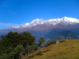 On the Pinadari Glacier Trek in the Himalayas. Photo by Dan Gowanlock