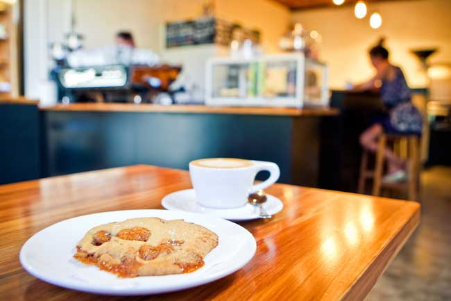 Coffee and pastries at the Leeds Street Bakery in Wellington.