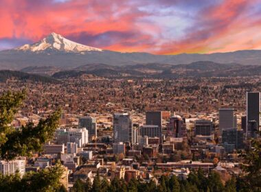 View of Portland, Oregon with mountain in the distance.