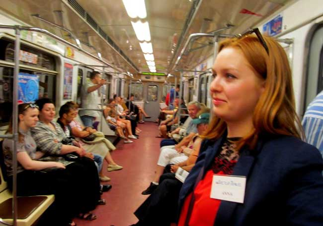 During our port excursion in St. Petersburg, Our minder, Larisa, supervised the group of 12 on the subway.