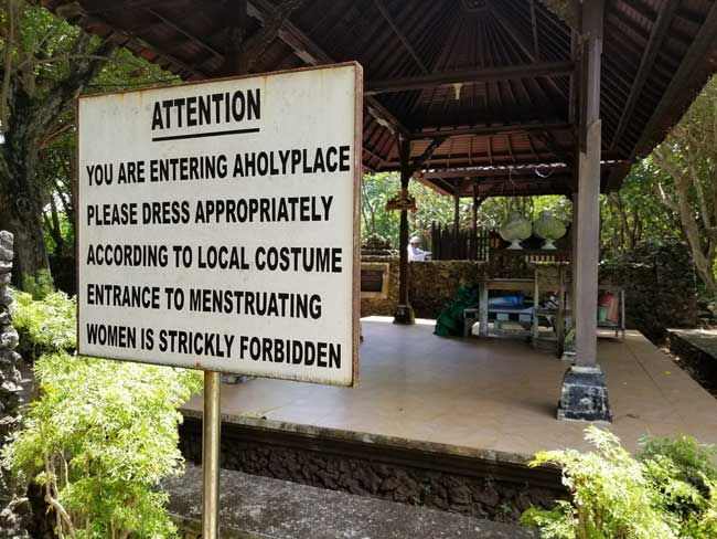 Signage at a local temple in Nusa Dua in Bali. Photo by Carrie Dow