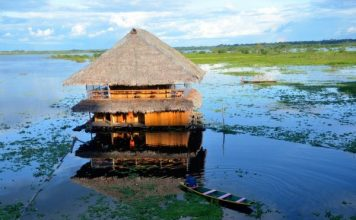 A hut protrudes above the water in Iquitos, Peru. Photo by Tony Mangia