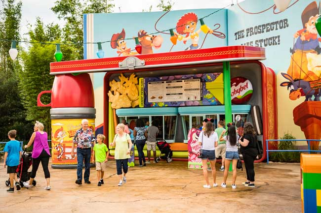 Woody's Lunch Box is a quick-service food and beverage location serving tasty meals and old-fashioned soda floats in Toy Story Land at Disney's Hollywood Studios. Photo by Matt Stroshane