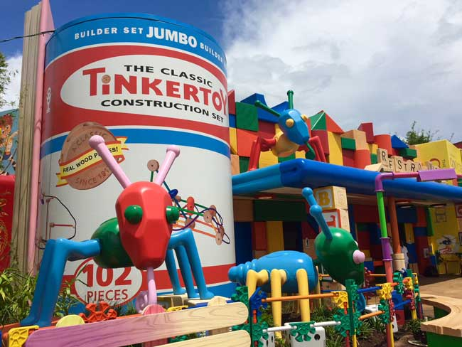 Giant tinker toys in Toy Story Land at Disney's Hollywood Studios. Photo by Janna Graber
