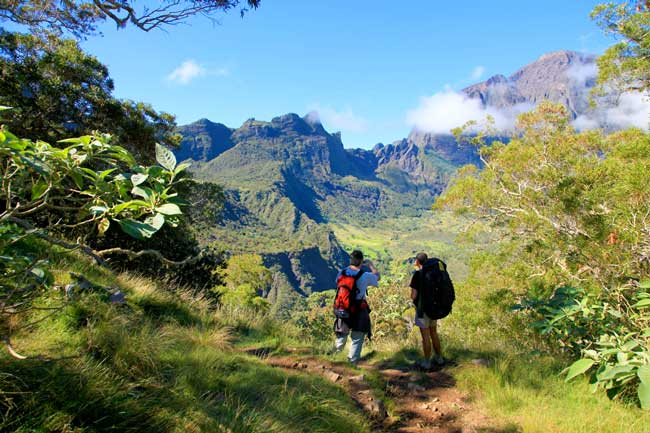 Hiking in Mafate on Reunion Island. Photo by Emmanuel Virin