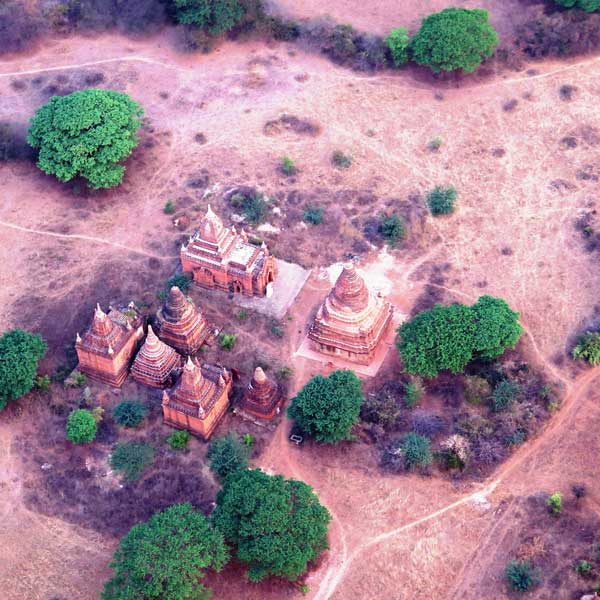 View of the Bagan Temples from the hot air balloon. Photo by Victor Block
