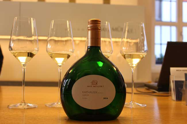 Wine in Franconia is bottled in a uniquely-shaped bottle called the Bocksbeutel. Photo by Janna Graber