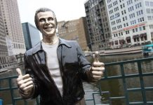 The Bronze statue of The Fonz is a popular art piece in Milwaukee.