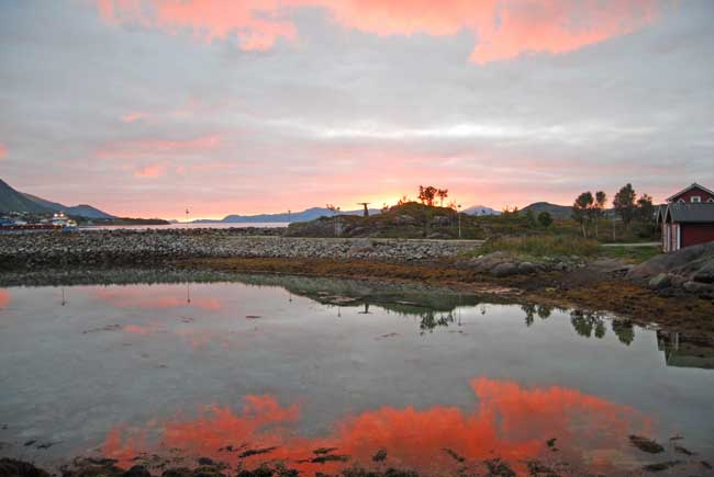 Sunset in Stokmarknes, a small town on the island of Hadseløya. Photo by Jennifer Baines