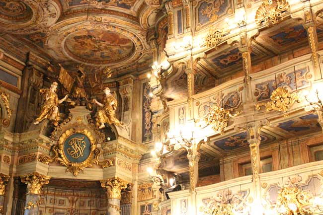 Intricate wood carvings at the Margravial Opera House in Bayreuth, Germany in Bavaria. Photo by Janna Graber