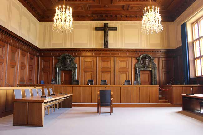 The courtroom where the Nuremberg Trials took place. It is still a working courtroom today. Photo by Janna Graber