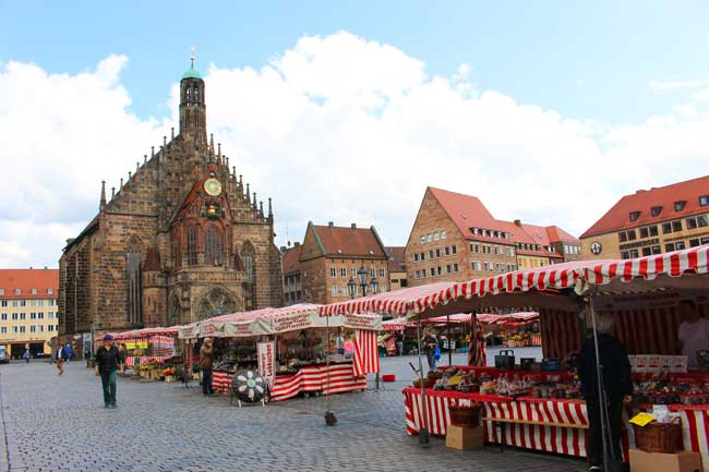 In the winter, the world-famous Christkindlesmarkt Christmas Market is held here in Nuremberg . In the summer, the town square is filled with vendors selling farm-fresh produce. Photo by Janna Graber