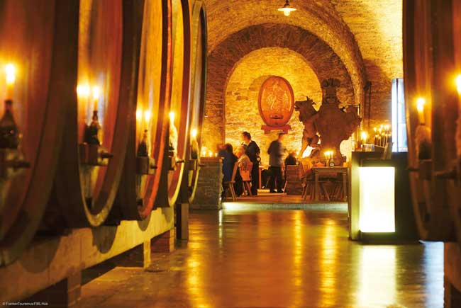 The wine cellars of the Staatlicher Hofkeller under Würzburg Residenz Castle in Franconia. Photo by FrankenTourismus/FWL/Hub