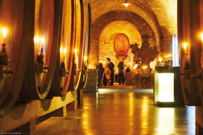 The wine cellars of the Staatlicher Hofkeller under Würzburg Residenz Castle in Franconia. Photo by FrankenTourismus/FWL/Hub