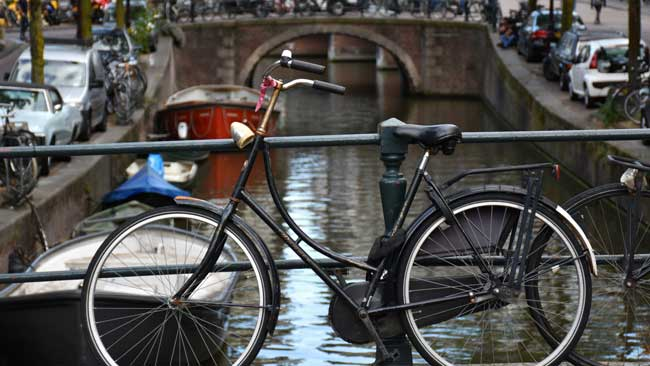 Cycling is a great way to get around in Amsterdam.
