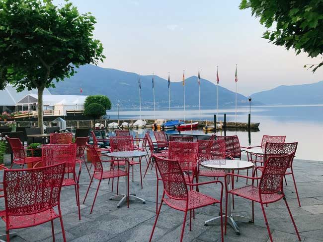 Lakeside dining in downtown Ascona.