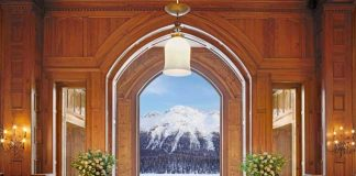 The view from the Grand Hall of Badrutt's Palace Hotel in St. Moritz.