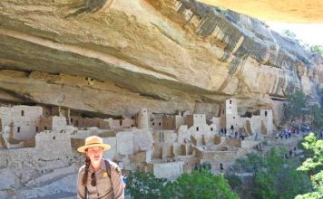 Our park service guide tells us about the life of the Ancient Publoans in Cliff Palace at Mesa Verde National Park. Photo by Janna Graber