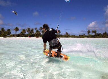 Kitesurfing the Cocos Keeling Islands. Photo Nina Burakowski