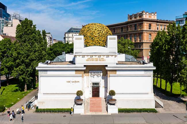 The Secession Building, with its golden dome, is one of the most remarkable examples of Art Nouveau architecture in Vienna. Photo credit: WienTourismus-Christian Stemper
