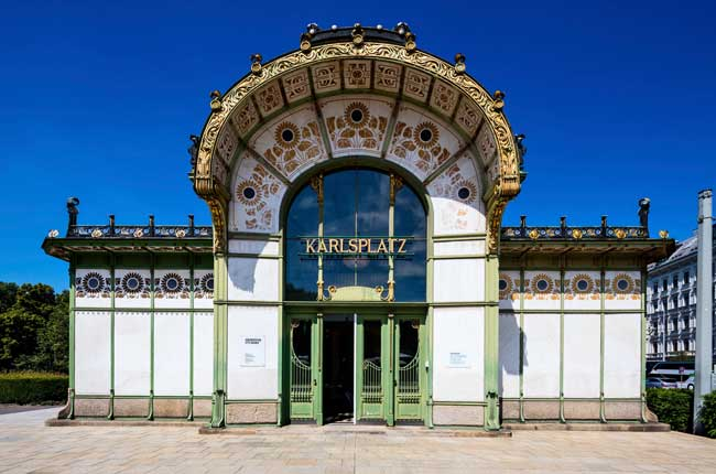 Designed as a train station by architect Otto Wagner, this structure near the Secession Building now houses a museum and a café. Photo credit: WienTourismus-Christian Stemper