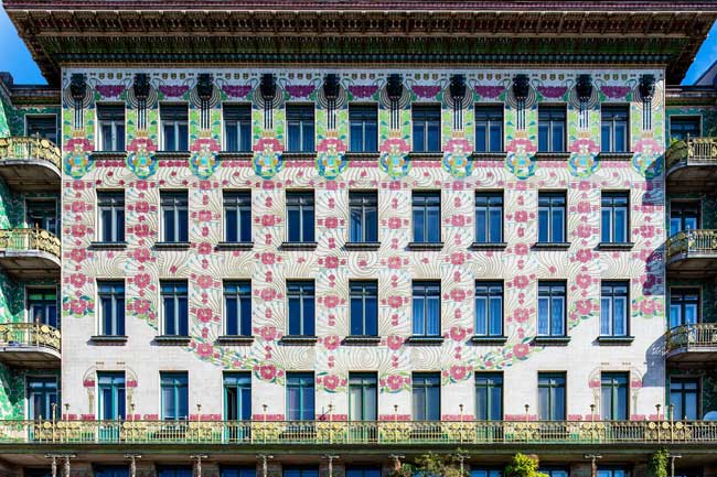 This apartment building clad with floral tiles is another example of how architect Otto Wagner left his mark on Vienna's architecture. (Photo credit: WienTourismus-Christian Stemper)