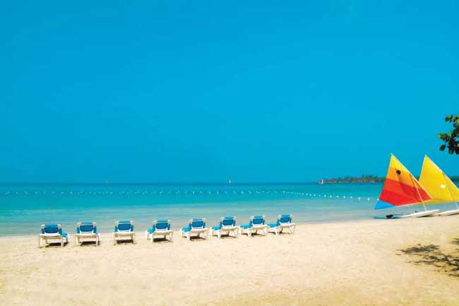 Pristine beach at Sunset at the Palms in Jamaica. Photo by Sunset at the Palms