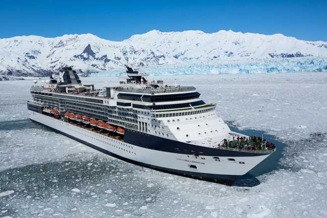 The Celebrity Millennium visits Hubbard Glacier during and Alaskan cruise. Photo by Celebrity Cruises