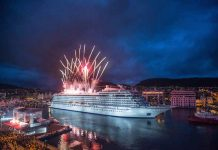 The Viking Star being christened in Bergen, Norway. Photo courtesy of Viking Cruises