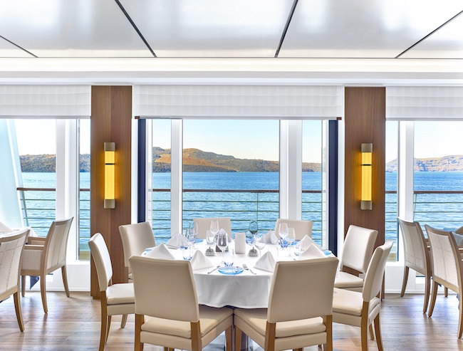 Table with a view at The Restaurant. Photo courtesy of Viking Cruises