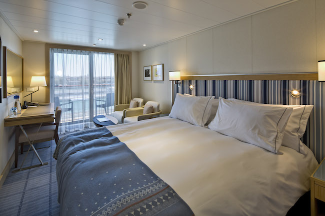 Deluxe veranda stateroom, one of five types of rooms. Photo courtesy of Viking