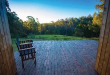 Bruny Island cabin. Photo by Tourism Australia & Graham Freeman