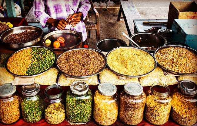 The markets in South India are filled with spices and wonderful things to eat.