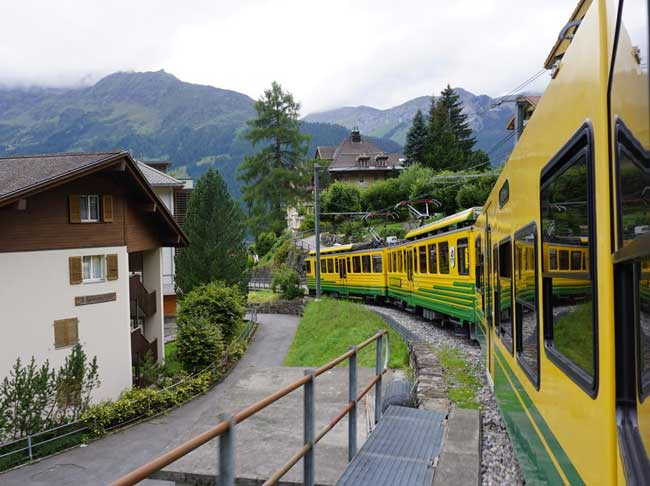 The Wengneralp train runs from Lauterbrunnen to Wengen and Kleine Scheidegg.