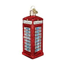 English Phone Booth Glass Blown Ornament Amazon