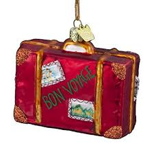 Kurt Adler 3-1/2-Inch Glass Bon Voyage Suitcase Ornament Amazon