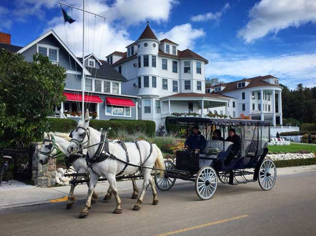 There are no cars on Mackinac Island, Michigan. Photo by Rich Grant