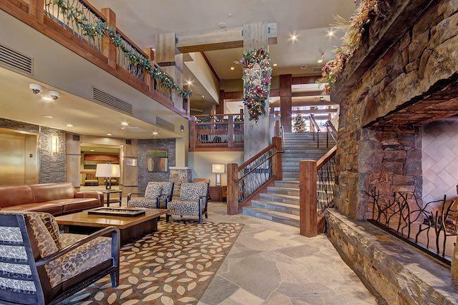 Two-story lobby at One Ski Hill Place. Photo courtesy of Breckenridge Ski Resort