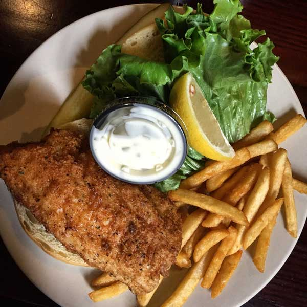 Whitefish Sandwich at the Legs Inn. Photo by RIch Grant