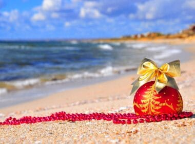 On the beach for the holidays.
