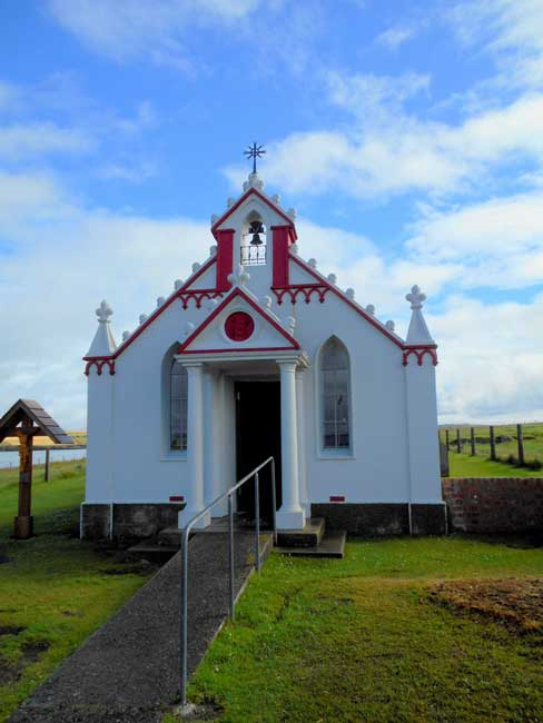 The Italian Chapel in Orkney started with an army Quonset hut. Photo by Carol L. Bowman