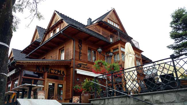 One of the many hotel-restaurants in the Alpine town of Zakopane. Photo by Eric D Goodman