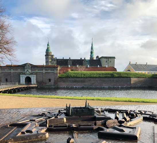 A bronze model of Kronborg Castle facing the real castle in Helsingor. Photo by Susmita Sengupta