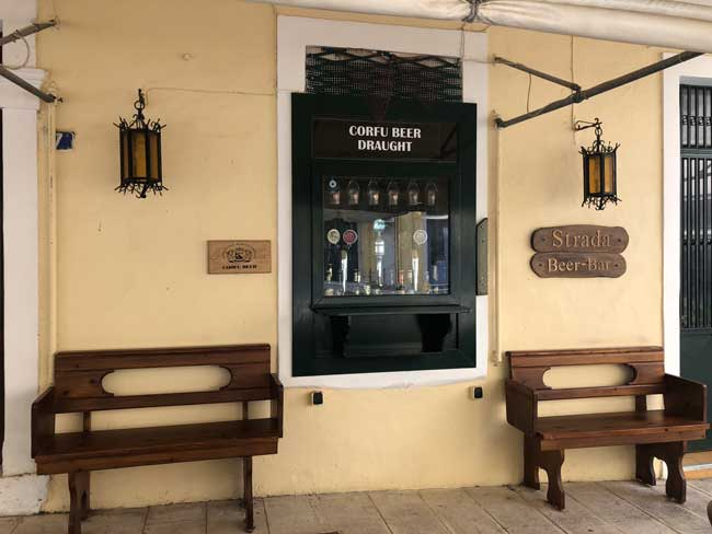 Beer pub in Corfu Town serving Corfu Beer