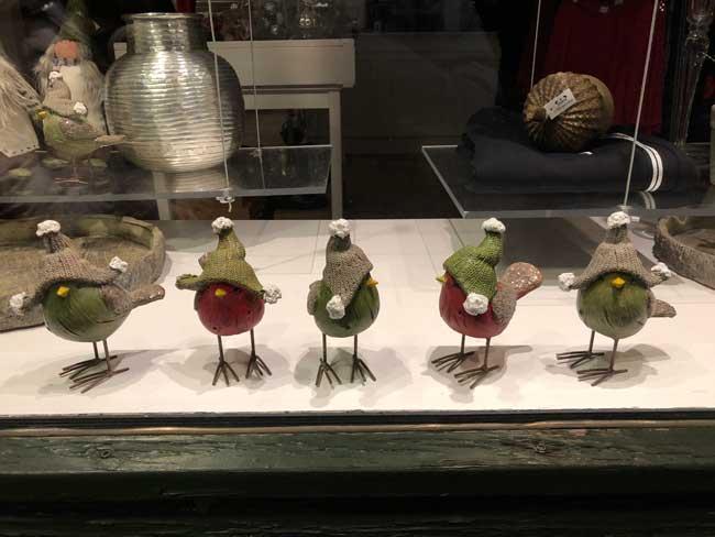 Birds dressed for winter at a store in Humlebaek. Photo by Susmita Sengupta